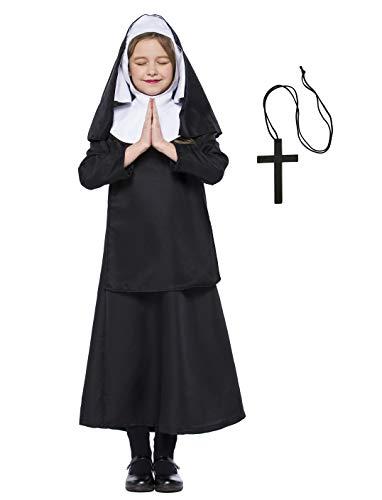 Kostüm Mädchen Heiligen - Mädchen Katholische Nonne Kostüm Baby Mädchen Halloween Nonne Kostüm Saint Days Kostüm für Kinder (122/128 (6-7 Jahre))