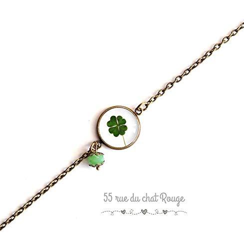 pulsera cadena de bronce fino, trébol, amuleto de la suerte, verde blanco, bronce
