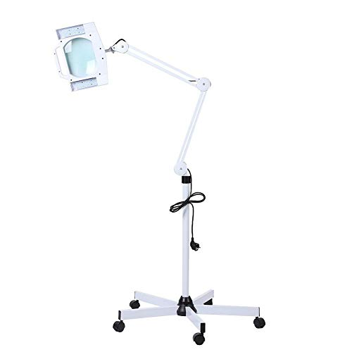 LED 5X Lighted Magnifier Lamp Stand Beauty Facial Lupenleuchte, EU Plug, 14W 5x Stand