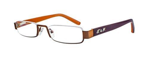 Edison & King Lesebrille - Klassische Halbrandbrille mit Entspiegelung und Härtung Stärken (Braun-Hellbraun), 1,00 dpt