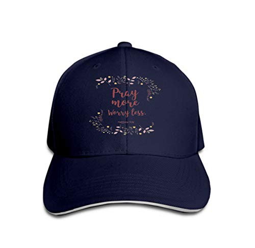 Hip Hop Baseball Cap Hat for Boys Girls Quote Wreath Leaf Design Quote Wreath Leaf Design Text Pray More Worry (Polo-hüte Blau)