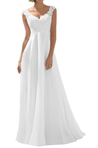 Milano Bride Elegant V-Ausschnitt Spitze Chiffon Hochzeitskleider Brautkleider Brautmode Damen Festkleider Rueckenfrei -36-Weiss