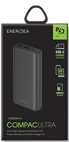 ENERGEA COMPAC Ultra (PQ2201) 20000 MAH LI-Polymer PD Power Bank MIT USB-C Power DELIVERY UNIVERSAL SMART Charge 4.0 & QUALCOMM Quick Charge 3.0 Universal Power Bank