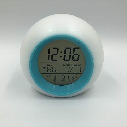 Digitale LED-Glühtuhr Alarm-Thermometer mit Natur-Sound - Wanduhr Kleine Digital