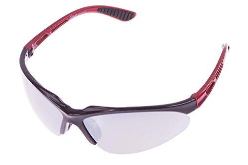 Crivit® Sportbrille - Ultralieicht - 100% UV-Schutz + Wechselgläser + Etui + Putztuch + Brillen Kordel Schwarz-Rot-Glänzend
