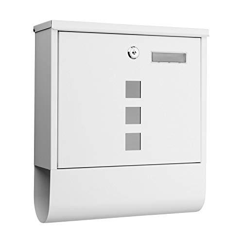 1PLUS Briefkasten Postkasten Wandbriefkasten mit Zeitungsrolle/Zeitungsfach mit schützender Beschichtung (mit Namensschild, weiß)