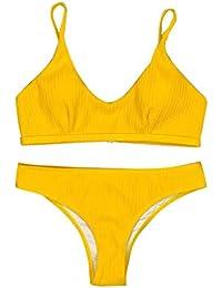 ba4cf04dd1 Jaminy Femme Attrayant Brillant Bikini Micro Halter Top + String Ensemble  de Maillot de Bain c