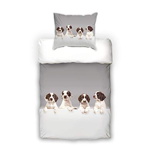 Schwanberg Bettwäsche Babydogs Hunde Welpen Grau Renforcé, Größe:135x200 cm + 80x80 cm -