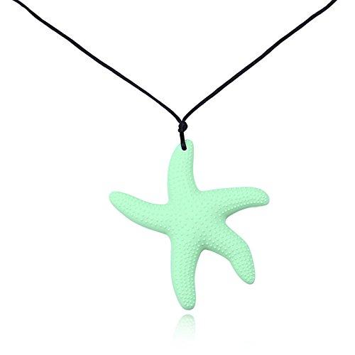 Preisvergleich Produktbild Beydodo Beißringe Baby Kette Lebensmittelechtes Silikon Zahnen Anhänger Halskette Leuchtendes Grün Sterne Chewelry Mama Kette Länge 80CM