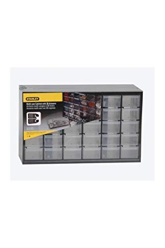 Stanley Kleinteilemagazin (36,5 x 15,5 x 22,5 cm, mit 30 Schubladen, bruchfester Kunststoffrahmen, transparente Schubladen, geeignet für Wandmontage) 1-93-980