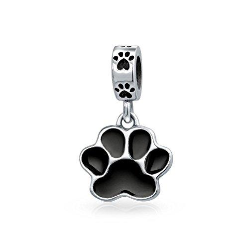 Truecharms placcato argento, smalto nero, motivo impronte di cane di perle, charm per pandora-charm bracelets