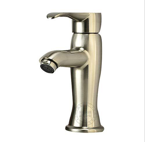 ROTOOY Gebürstetes Becken heiße und kalte Wasserhahn Badezimmer Waschbecken Eitelkeit über Zähler Becken Wasserhahn Bad Schrank einzigen Loch Wasserhahn