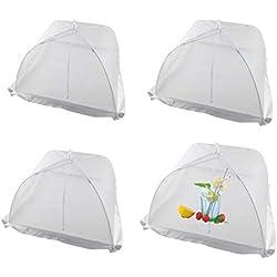 4 Stück Pop-Up Fliegenhaube, Lebensmittel Abdeckung Zelt für Speisen, Speiseschirm, Insektenschutzhaube für Küche & Draußen Netzschutz Taschenschirm Vermeiden Fliegen, Bugs, Mosquitos weiß