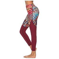 WUXEGHK Pantalones De Yoga Estampados Para Mujeres De Estilo Étnico,Leggings Deportivos Estampados Para Fitness,Medias De Caderas Para Mujeres Mallas Mallas Mujer Deportivas Leggins Oc04