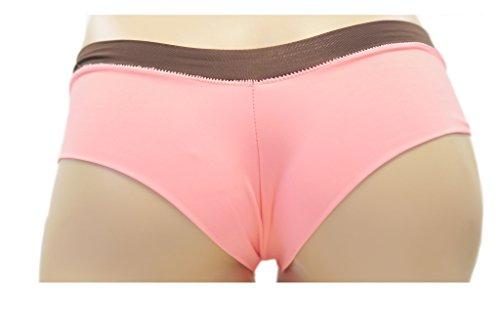 Ying Fung Damen Blumen Flachbau seidig thong Pink with brown waist band