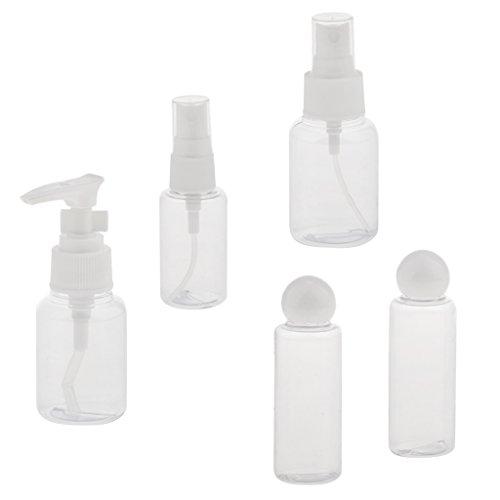 B Baosity Bouteilles De Voyage Cas Set Pour Maquillage Articles De Toilette Shampooing Savon Liquide Conteneurs Fuite Preuve Portable Cosmétique PVC Sac Kit Pack De 5
