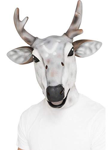 Luxuspiraten - Kostüm Accessoires Zubehör Tier Latex Maske Hirsch Rentier Reindeer Deer, perfekt für Karneval, Fasching und Fastnacht, Weiß