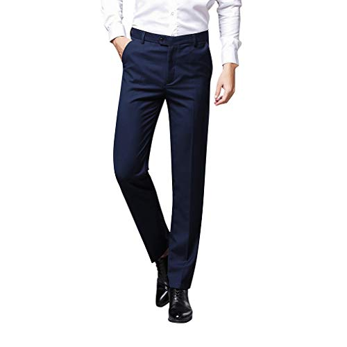 Herren Lange Business Hose Slim Fit Chino Hose Straight Leg Business gerader Regular Schnitt Jeanshose Chinohose Reißverschluss -