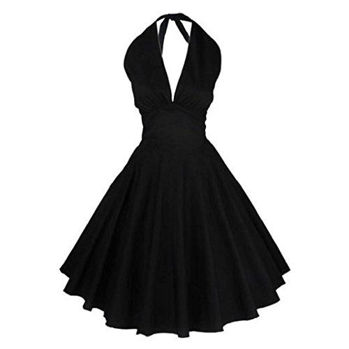 vovotrade Mujeres Sin mangas vestido casual retro ( Tamaño: S, Negro)