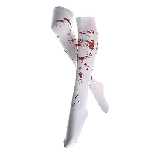 Weiß Blutigen Zombie Blut Befleckt Strümpfe Halloween Abendkleid Der (Punk Kostüm Zombie)