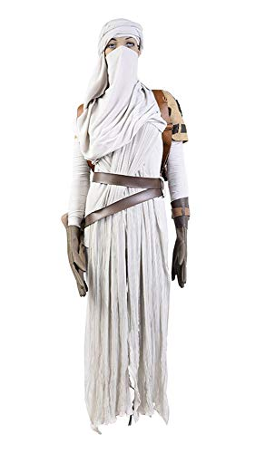 Star Wars VII: The Force Awakens Rey Cosplay Kostüm Karneval Kostüm Für Erwachsene Damen Weiß L (Rey Star Wars The Force Awakens Kostüm)