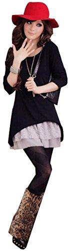 Meyison Mode Damen Strickkleider Kleidung Damenbekleidung Oberteile Schwarz
