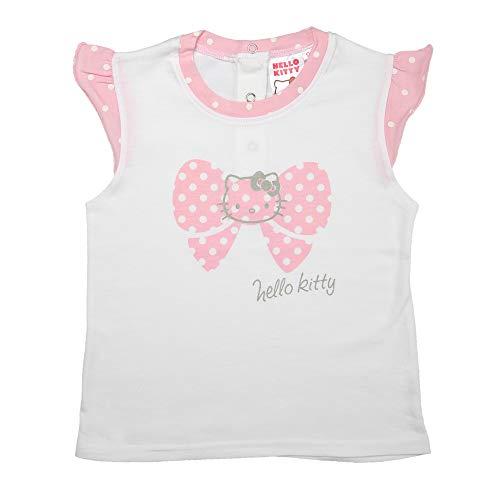 Hello Kitty T-Shirt Top Mädchen | Kurzarm | Weiss Pink | Größe 92 (Mädchen Kitty Hello Für Sweatshirt)
