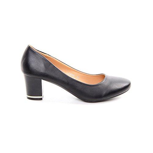 Donna Classico pompe scarpe con tacco alto in finta pelle oro, nero (Black - Black), 7 UK