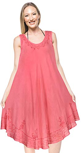 Rayon-gewebe (LA LEELA Damen-Rayon beiläufiges kurzes Strandkleid Rosa_A153 DE Größe: 42 (L) - 50 (3XL))