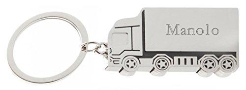 Llavero de metal de camión con nombre grabado: Manolo (nombre de pila/apellido/apodo)