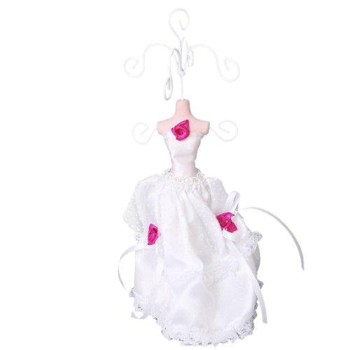 Mini weißen Spitzen Kleid Dame Mannequin Ohrring Armband Kette Schmuck stehen Display Halter (Mini Kette Kleid)