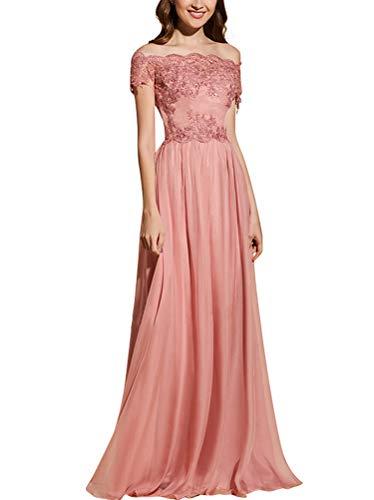 Damen Elegante A-Linie Abendkleider Lange Weg von der Schulter Chiffon Brautjungfer Kleider