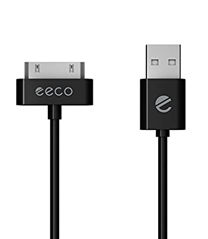 eeco Apple MFi Certified 2 Metre Charger Cable iPhone 3G/3GS/4/4s, iPad 1/2/3, iPod Touch 1/2/3/4, iPod 5th Gen, iPod Classic, iPod Nano 1/2/3/4/5/6 (Black) 30-Pin-to-USB