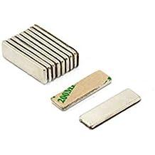 Magnetastico® | 20 piezas imanes autoadhesivos de neodimio N52 rectángulo 20x10x1 mm | Imanes fuertes adhesivos con cinta adhesiva de marca 3M | Imanes autoadhesivos N52 con película adhesiva, fuerza adhesiva extra