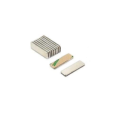 Magnetastico®   20 Stück selbstklebende Neodym Magnete N52 Rechteck 10x5x1 mm   Starke Klebemagnete mit 3M Marken-Klebeband   N52 Magnete mit Klebefolie selbstklebend extra hohe Haftkraft