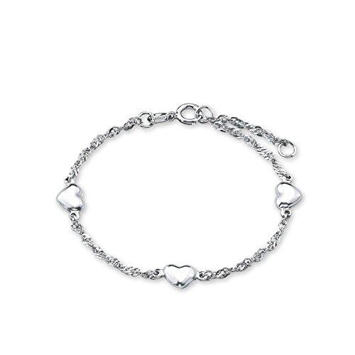 amor Damen-Armband 19cm mit Herz-Anhängern 925 Silber rhodiniert