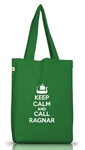Keep Calm And Call Ragnar, Vikings Jutebeutel Stoff Tasche Earth Positive (ONE SIZE) Moss Green