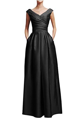 Victory Bridal Elegant Rosa Damen Abendkleider Festliche Ballkleider Partykleider Lang V Ausschnitt Schwarz