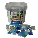Rayher Hobby 1453108 Glas-Mosaiksteine, Artdecor, Blau-Töne, Form quadratisch 2 x 2 cm, Eimer 1 kg (ca. 325 St.) Glasmosaik, Glassteine