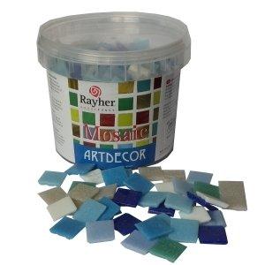 Rayher Hobby 1453108 Glas-Mosaiksteine, Artdecor, Blau-Töne, Form quadratisch 2 x 2 cm, Eimer 1 kg (ca. 325 St.) Glasmosaik, Glassteine - 2 X 2 Mosaik