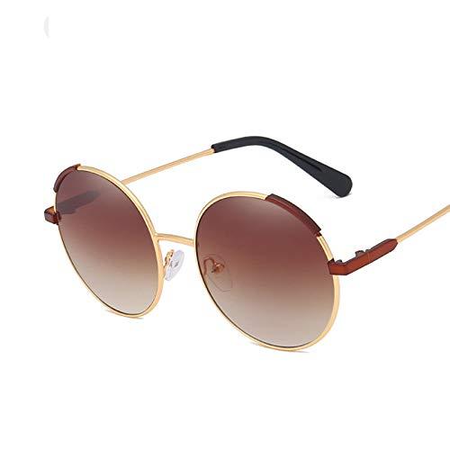 KnSam Polarisierte UV400 Schutz Ultraleicht Rahmen Runden Unisex Gold Braun Sonnenbrillen Fahrerbrille