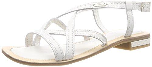 s.Oliver Damen 28120 Slingback Sandalen, Weiß (White), 40 EU (Weiße Sandale Frauen Flache)