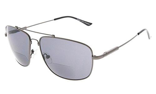 Eyekepper Erinnerung Bifokal Sonnen brille Biegsamen Titan Lesen Sonnenbrillen (Gunmetal Rahmen Grau Linse,+1.50)