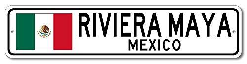 Lustiges Blechschild Riviera Maya Mexiko Mexikanische Flagge Schild Mexiko Custom Flagge Schild Aluminium Wanddeko Blechschild Weihnachten Geschenk (Metall-buchstaben-wand-dekor)