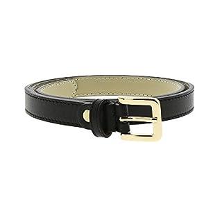 d0166b30c44562 Fashiongen - 2 cm Gürtel echtes italienisches Leder für damen, LINDA -  Schwarz (Golden