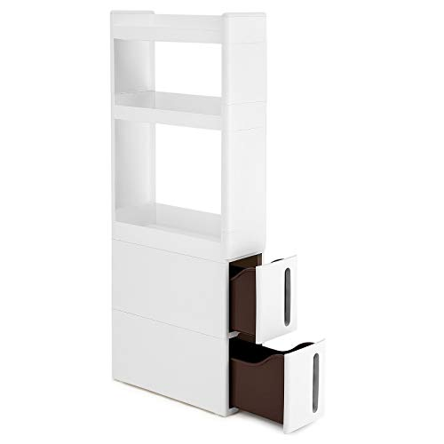 Songmics scaffale stretto a 3 ripiani e 2 cassetti, portaoggetti mobile ad angolo, in cucina bagno cantina, larghezza di 17 cm, bianco kfr06wt