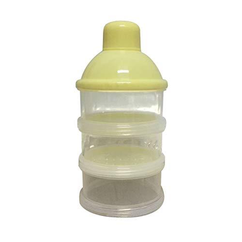 Providethebest Portátil Fórmula Leche en Polvo dispensador envase de alimento de Tres Storage Grid La alimentación de la Caja para el bebé de los niños del niño de tresamarillo