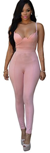 Grenouillères femmes sexy manches Cami V Neck Bodycon Party Clubwear Jumpsuit Rose