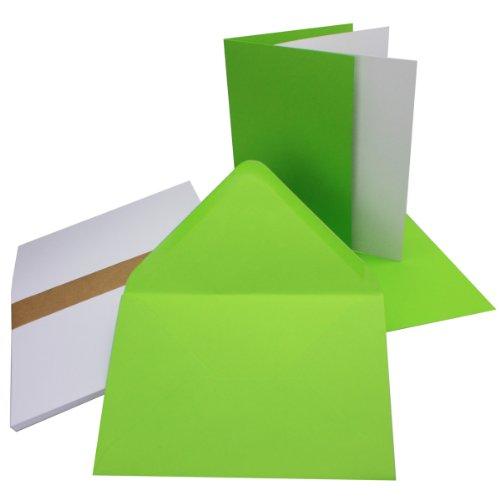 Einladungskarten inklusive Briefumschläge & Einlegeblätter | 25er-Set | Blanko Klapp-Karten in Hell-Grün | bedruckbare Post-Karten in DIN B6 Format | speziell zum Selbstgestalten & Kreieren