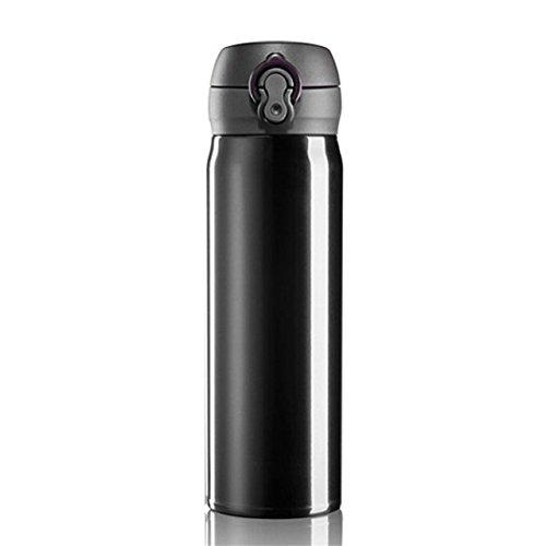 Saugnapf 500 ml Edelstahl Wasserflasche Trinkflasche Isolierung Tasse Erwärmung Halten Topf Einfarbig Einfache Design (schwarz)